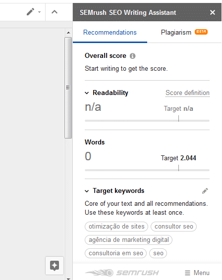 SEO Writing Assistant do SEMRUSH no Google Docs